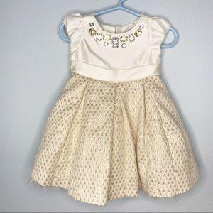 Baby girl Gymboree Holiday Dress Gold Jewel